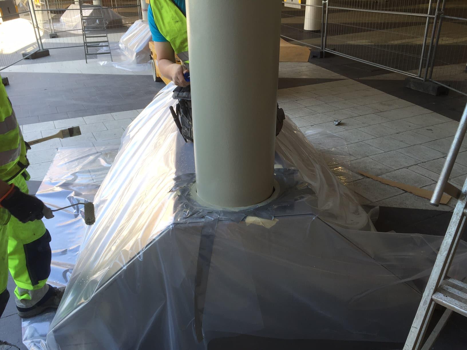 Sergels torg målning klotterskydd pelare allblästring 03