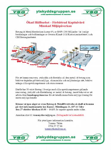 Hållbarhet – Kapitalvård – Miljöpåverkan vid Betong & Metallförstörelsen – Ytskyddsgruppens inbjudan och agenda 27/10 2016